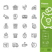 Finance and Money related single-line icons pack.