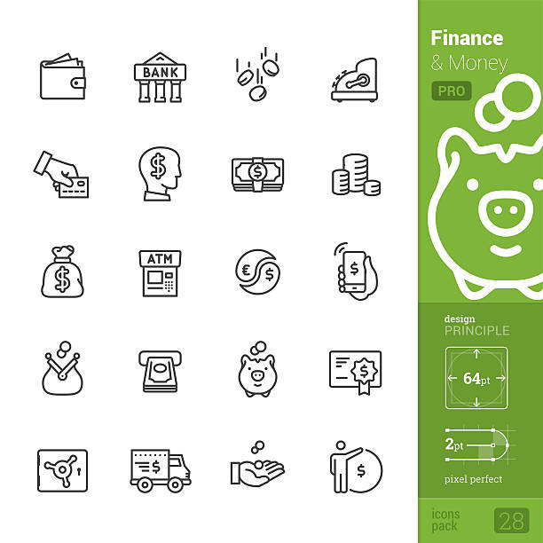 Finance and Money vector icons - PRO pack Finance and Money related single-line icons pack. change purse stock illustrations