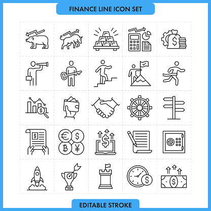 Finance and Success Line Icon Set. Editable Stroke
