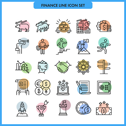 Finance and Success Line Icon Set.