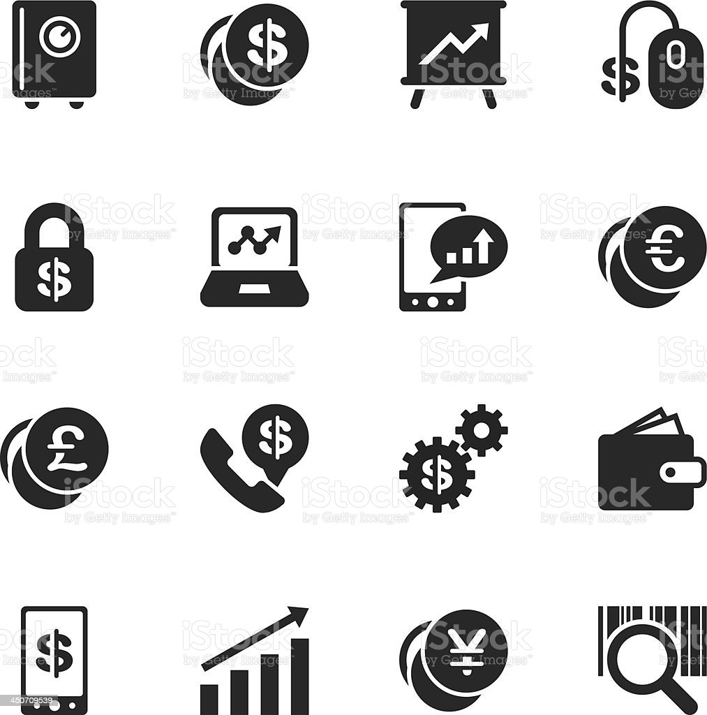 Finance and Trading Silhouette Icons vector art illustration