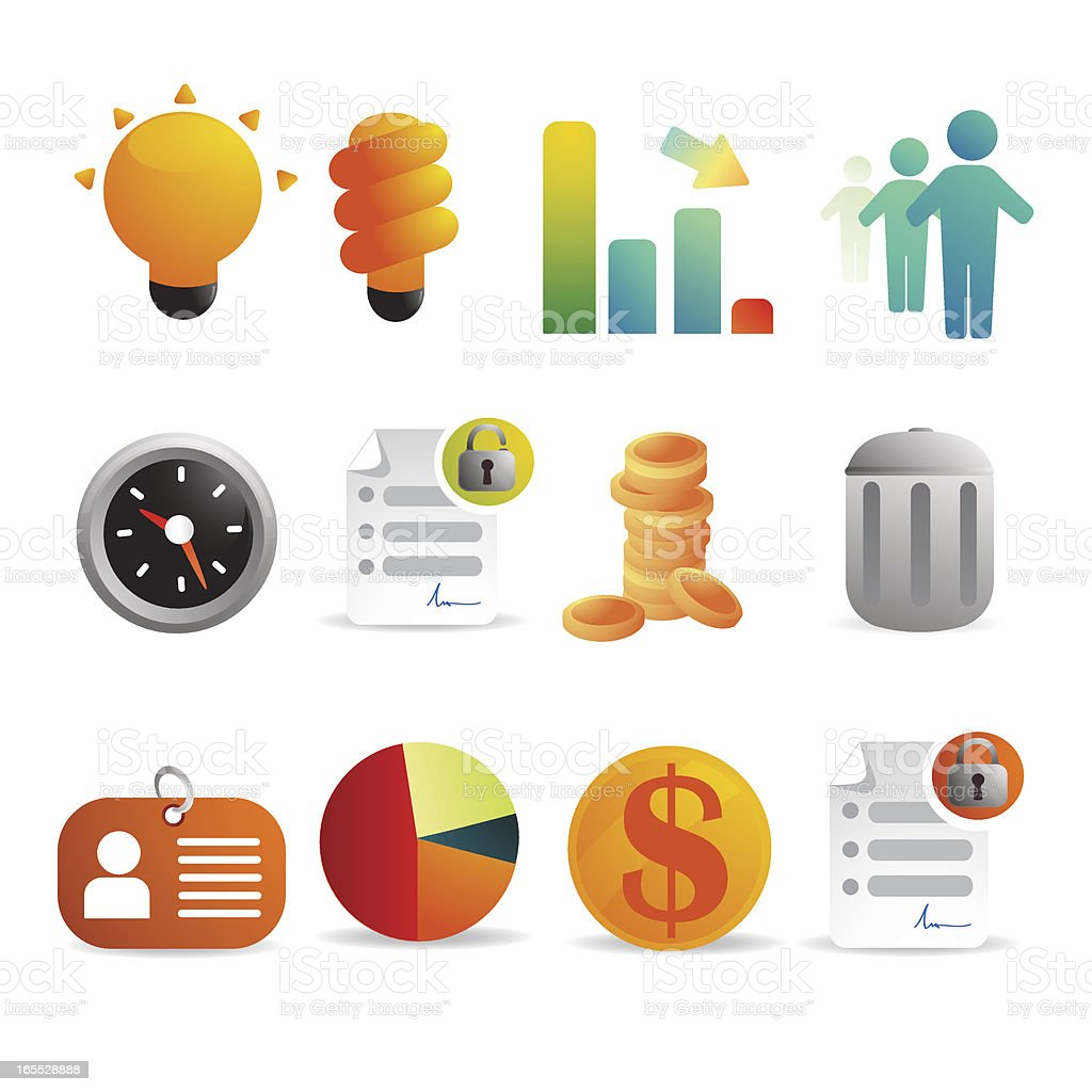 Finance and Work Icons royalty-free stock vector art