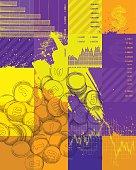 Finance theme background design - vector illustration