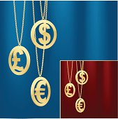 Finance background. Hanging gold coins over blue and red backgrounds.