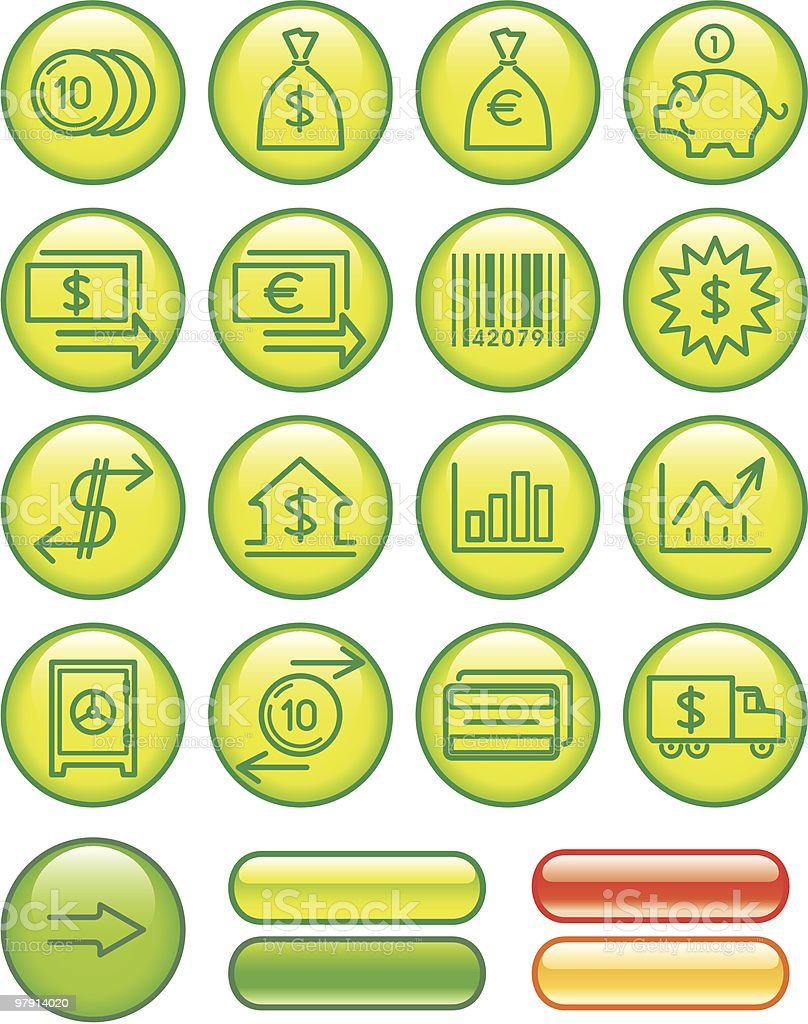 Finance, Banking Icon Set royalty-free stock vector art