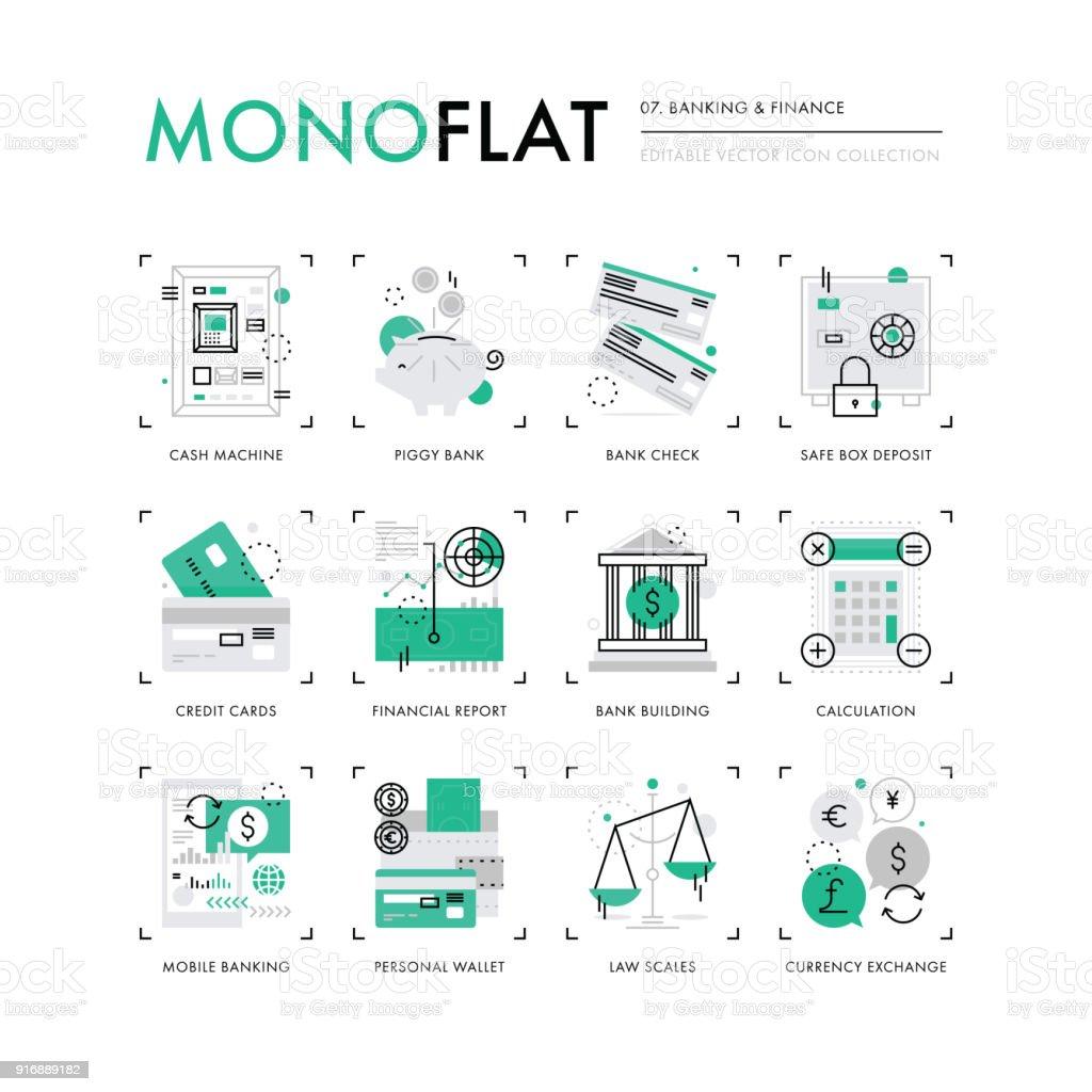 金融銀行 Monoflat アイコン ベクターアートイラスト