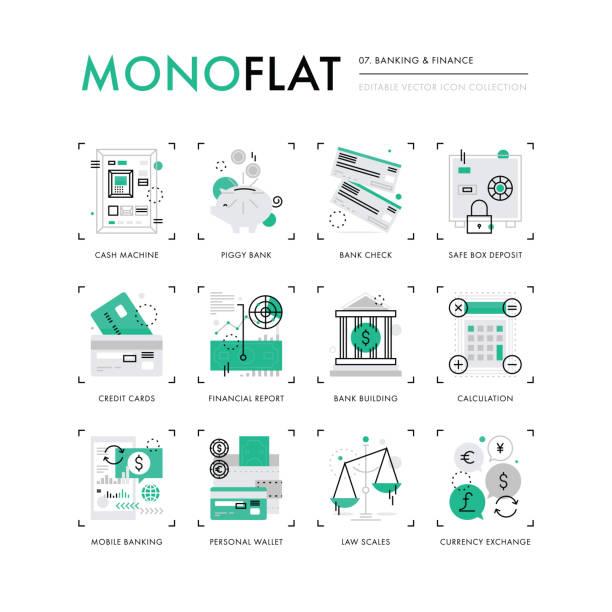 Finance Banking Monoflat Icons vector art illustration