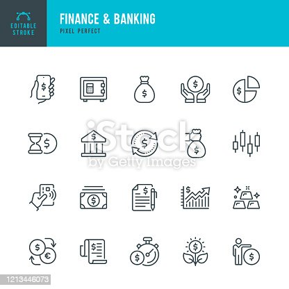 Finance & Banking - thin line vector icon set. 20 linear icon. Pixel perfect. Editable outline stroke. The set contains icons: Bank, Contactless Payment, Bank Deposit, Money Bag, Mobile Banking, Gold, Stock Market Data.