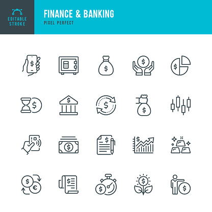 Finance & Banking - thin line vector icon set. Pixel perfect. Editable stroke. The set contains icons: Bank, Contactless Payment, Bank Deposit, Money Bag, Mobile Banking, Gold.