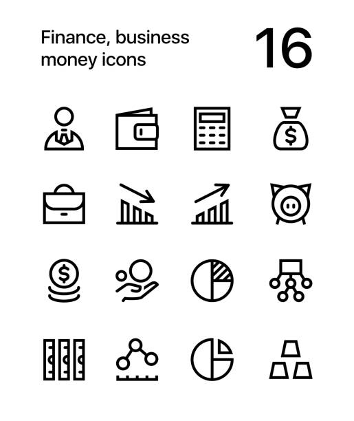 Finance, business, money icons for web and app 16 line black and white vector icons commercial event stock illustrations