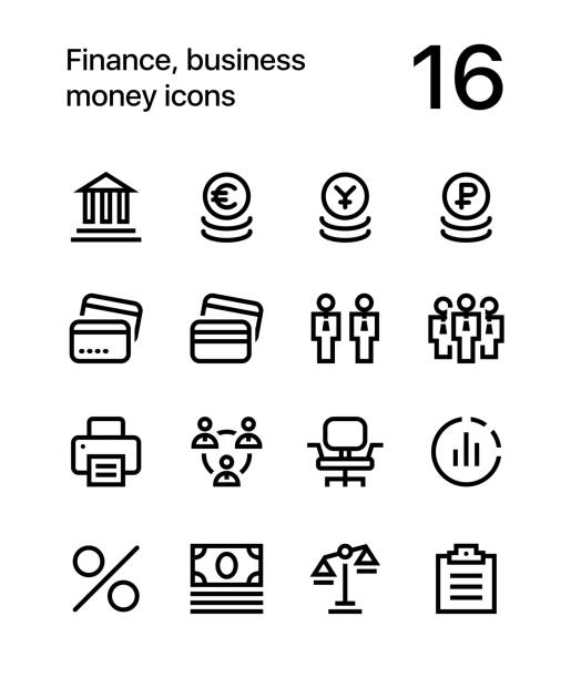 Finance, business, money icons for web and mobile design pack 3 16 line black and white vector icons commercial event stock illustrations