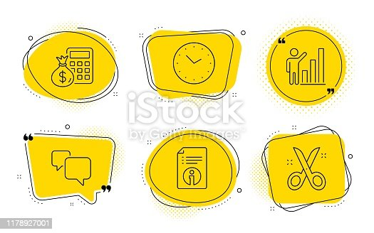 Time, Graph chart and Scissors signs. Chat bubbles. Finance calculator, Technical info and Speech bubble line icons set. Calculate money, Documentation, Chat message. Clock. Education set. Vector