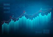 Finance chart. Stock graph market. Growth business blue vector background. Bond data online bank.