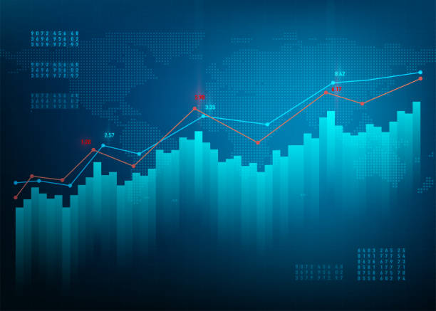 finance chart. stock graph market. growth business blue vector background. bond data online bank - dane giełdowe stock illustrations