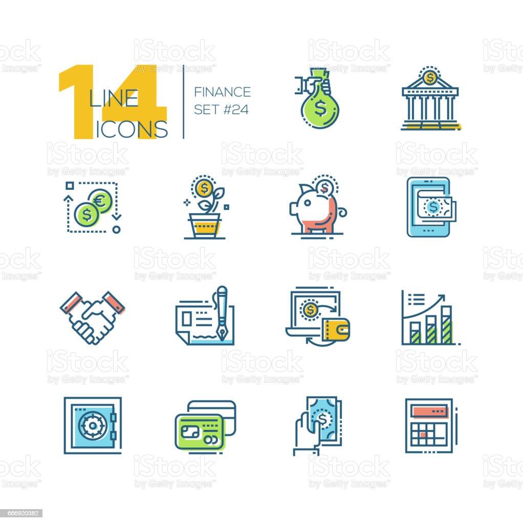 Finance - colored modern single line icons set vector art illustration