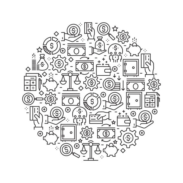 Finance Concept - Black and White Line Icons, Arranged in Circle Finance Concept - Black and White Line Icons, Arranged in Circle budget backgrounds stock illustrations