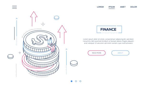 Finanzkonzept-Liniendesign isometrisches Web-Banner – Vektorgrafik
