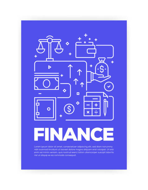 Finance Concept Line Style Cover Design for Annual Report, Flyer, Brochure. Finance Concept Line Style Cover Design for Annual Report, Flyer, Brochure. banking patterns stock illustrations