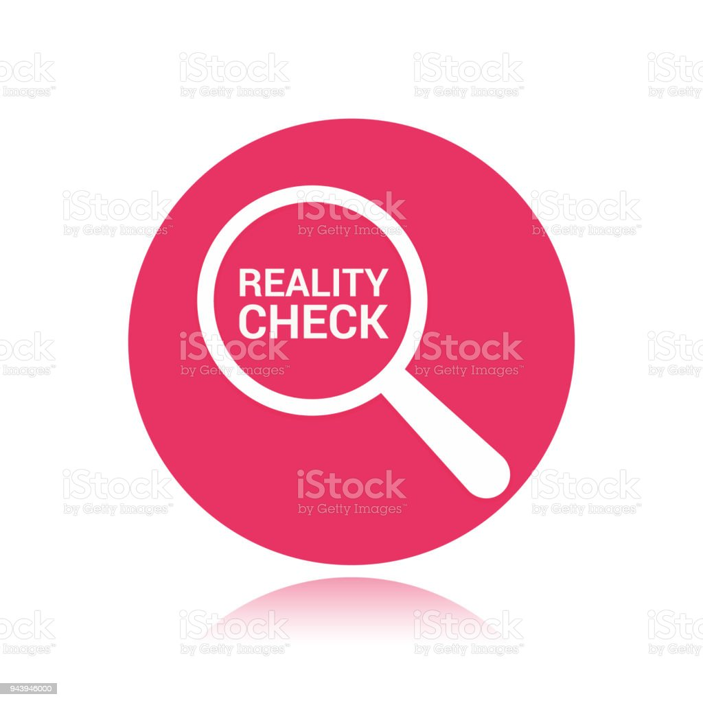Finance Concept: Magnifying Optical Glass With Words Reality Check vector art illustration