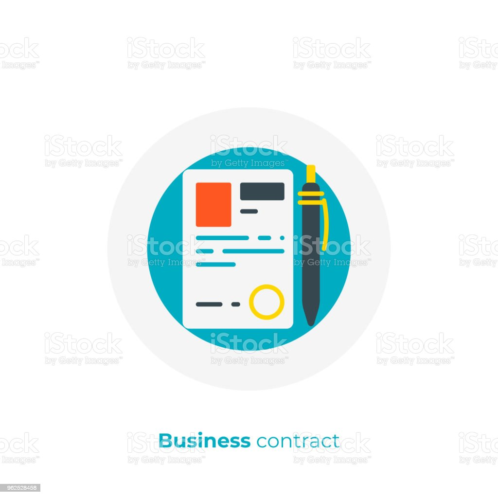 Finance contract flat art icon, verified business agreement vector art, cartoon digital signature illustration - Royalty-free Agreement stock vector