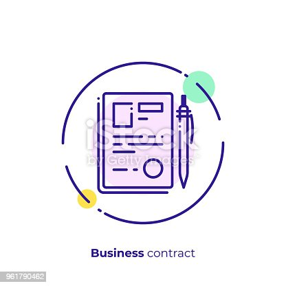Finance Contract Line Art Icon Verified Business Agreement Vector