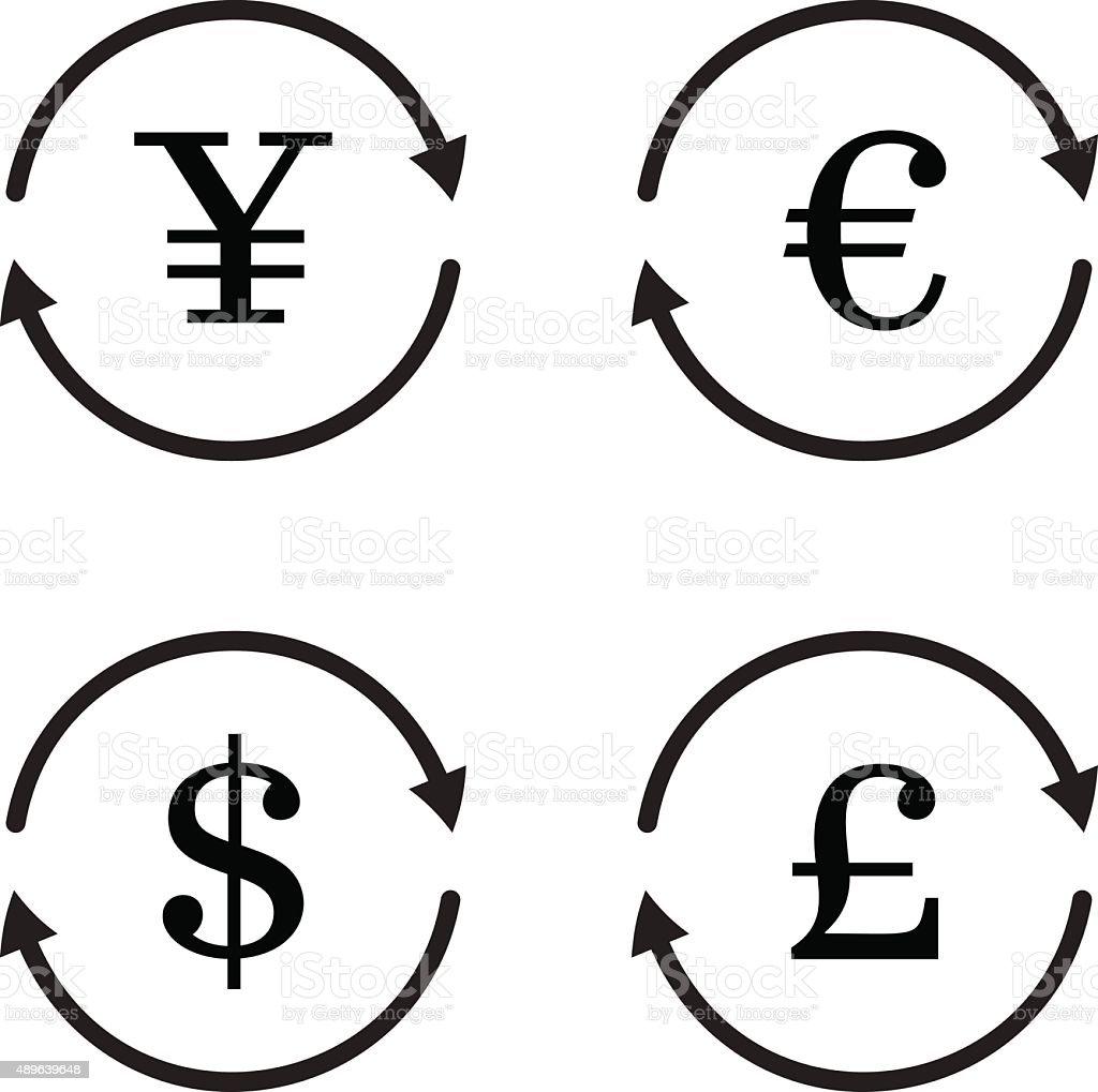 Finance currency exchange vector icon set. vector art illustration