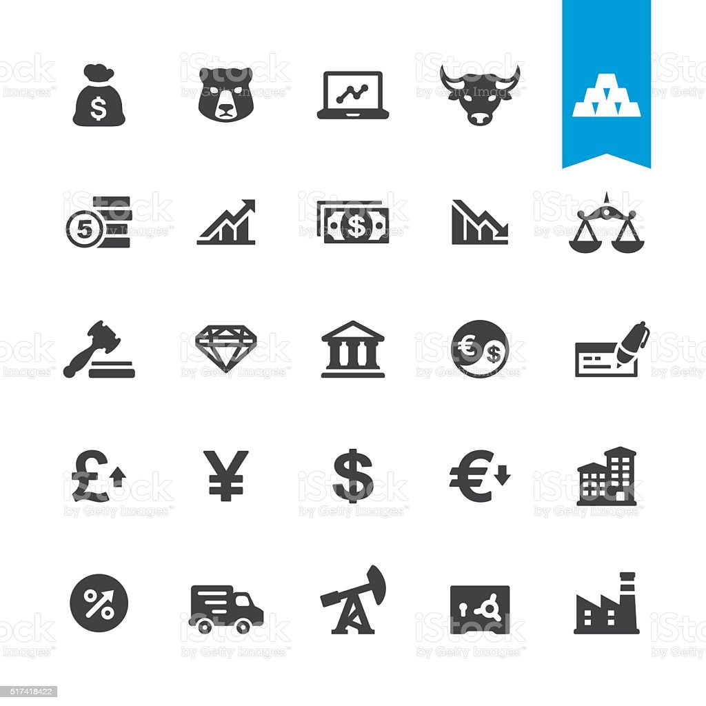 Finance & Currency vector sign and icon vector art illustration