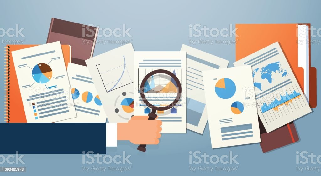 Finance Diagram Documents Desk Analysis Businessman Hand with Magnifying Glass Financial Business Graph vector art illustration