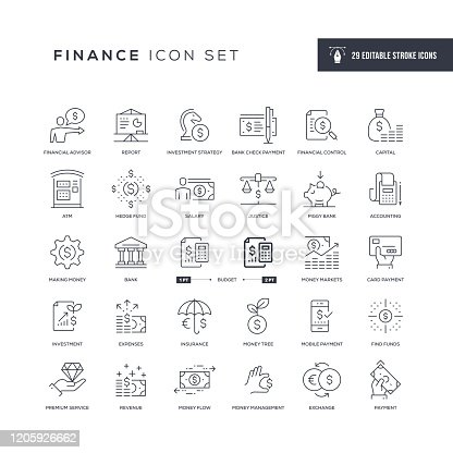29 Finance Icons - Editable Stroke - Easy to edit and customize - You can easily customize the stroke with