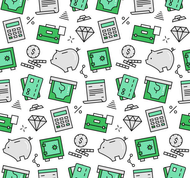 Finance elements seamless icons pattern Modern line icons seamless pattern texture of finance service and banking objects, piggy bank deposit box, money savings. Flat design graphic, perfect for web background or print wrapping decoration. budget patterns stock illustrations