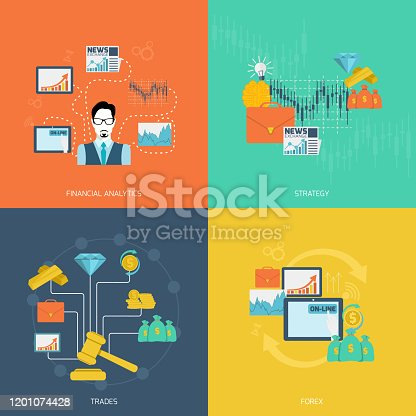 Finance exchange flat icons set with financial analytics strategy trades forex isolated vector illustration