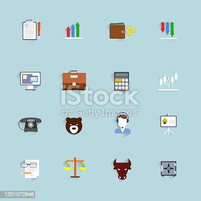 Finance exchange money trading icons flat set isolated vector illustration