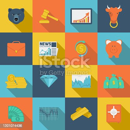 Finance investment analytics money investment currency exchange trading flat icons set isolated vector illustration