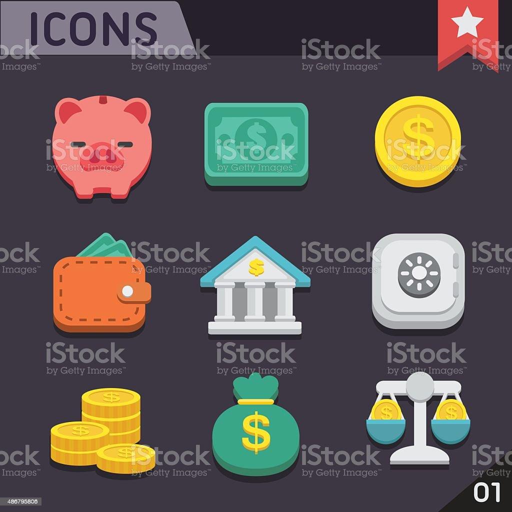 Finance flat icons vector art illustration