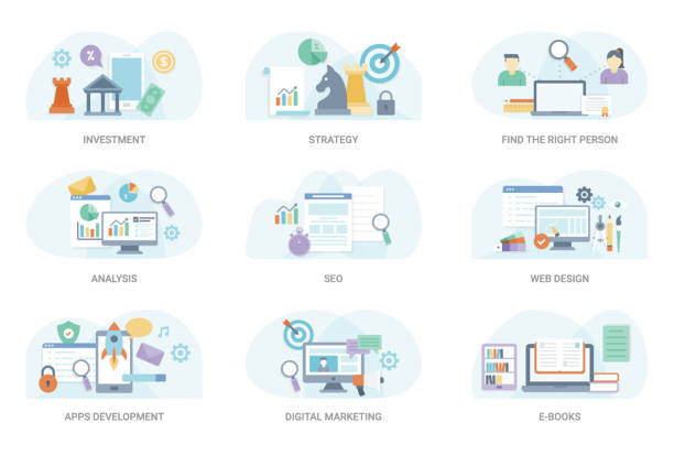 Finance Flat Illustration Bundle This business flat vector illustration consisting of wide range of business and finance visuals. This set can be used in graphic designing and other related projects, hold this pack. website design stock illustrations