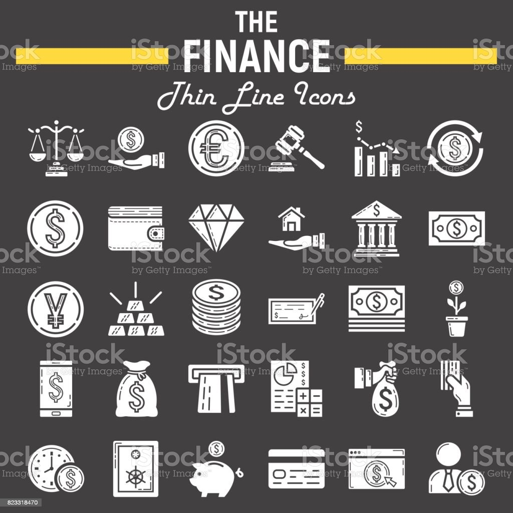 c15b52491c Finance glyph icon set, business symbols collection, marketing vector  sketches, illustrations, business signs solid pictograms package isolated  on black ...
