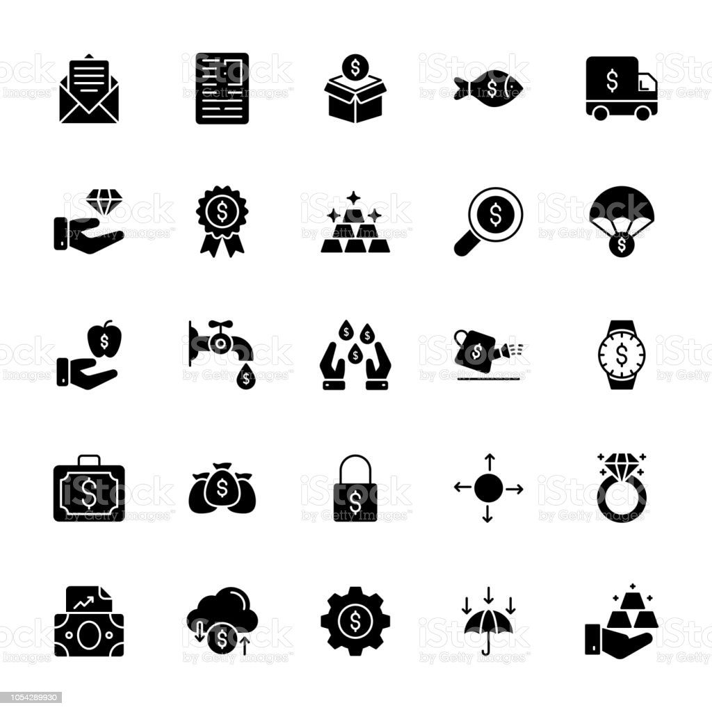 Finance Glyph Vector Icons vector art illustration