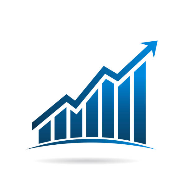 finance graphic bars up rising arrow. vector illustration design - dane giełdowe stock illustrations