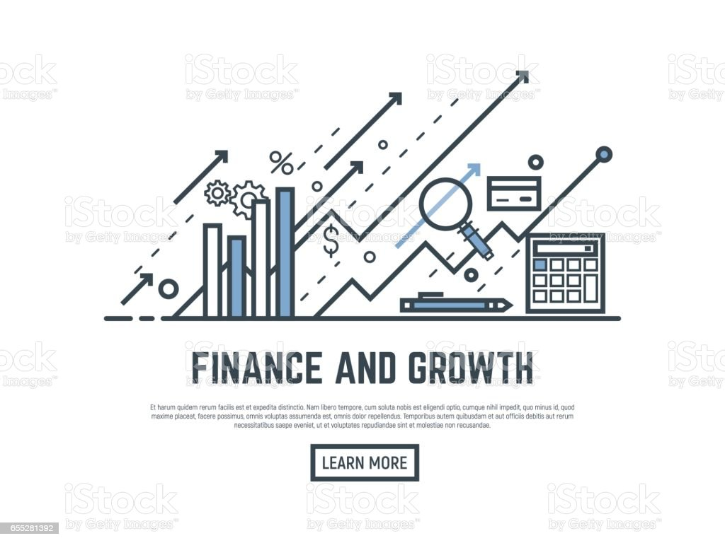 Finance growth banner vector art illustration