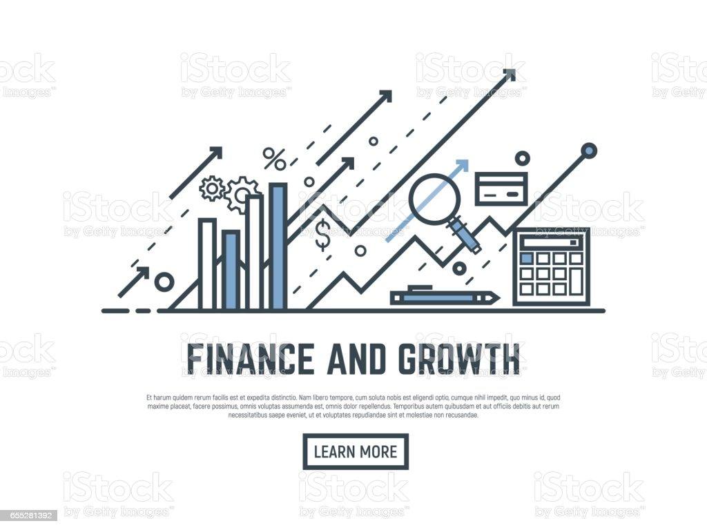 Bandera de crecimiento financiero - ilustración de arte vectorial