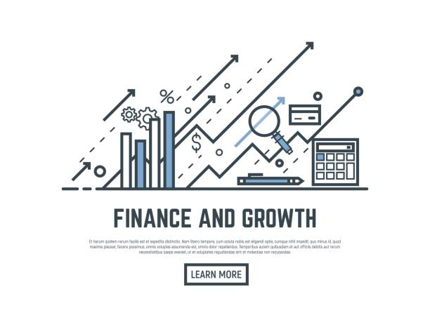Finance growth banner Financial growth concept illustration. Magnifying glass, calculator, arrows and graph stats. Thin line style banner. Trendy vector placard with text and button. accountancy stock illustrations