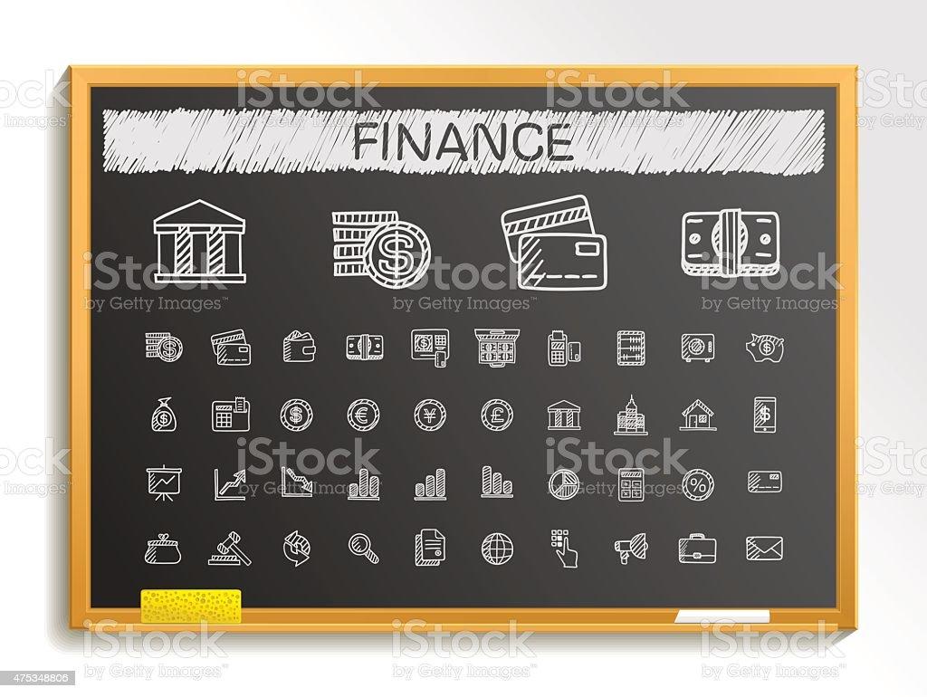 Finance hand drawing sketch icons set. Vector doodle blackboard illustration vector art illustration