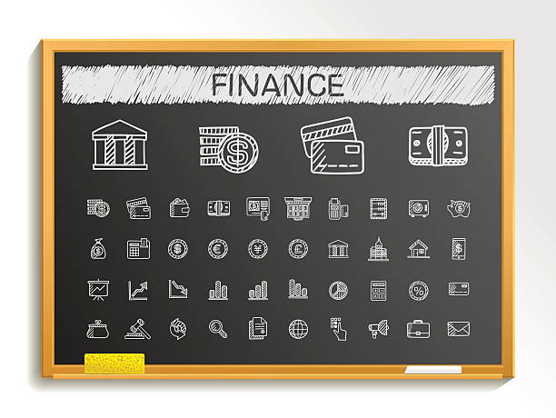 Finance hand drawing sketch icons set. Vector doodle blackboard illustration Finance hand drawing line icons. Vector doodle pictogram set: chalk sketch sign illustration on blackboard with hatch symbols: business, statistics, currency, money, payment, internet, register. banking drawings stock illustrations