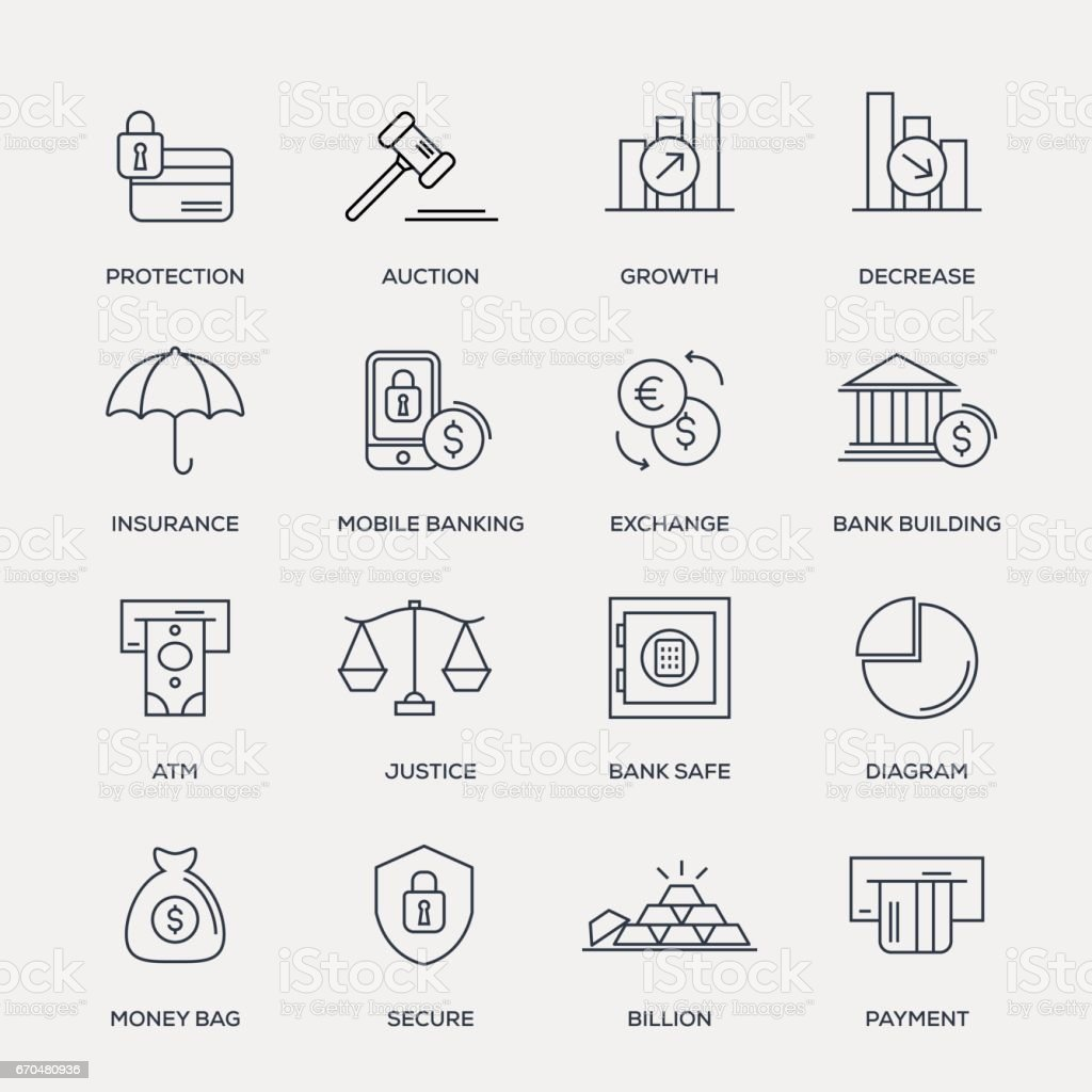 Finance Icon Set - Line Series vector art illustration