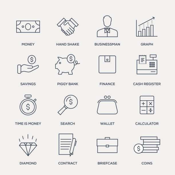 Finance Icon Set - Line Series Finance Icon Set - Line Series time is money stock illustrations