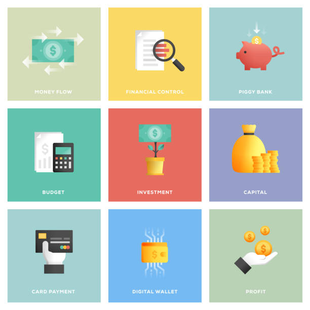 Finance Icon Set Finance Icon Set budget stock illustrations