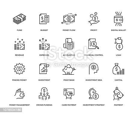 Finance Icon Set - Thin Line Series