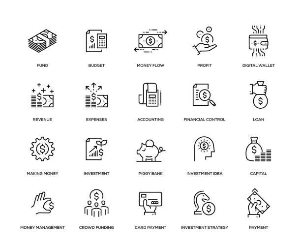 stockillustraties, clipart, cartoons en iconen met financiën icon set - financieel adviseur