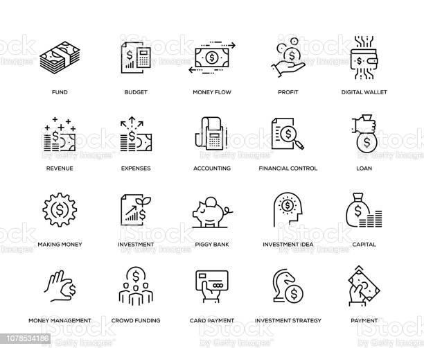 Financiën Icon Set Stockvectorkunst en meer beelden van Aandeel