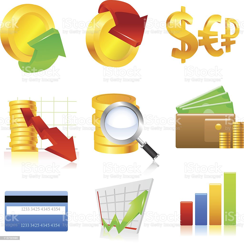 Finance icone set. royalty-free stock vector art